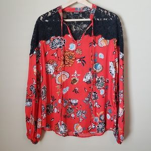 Desigual Ketty Red Floral Lace Top M